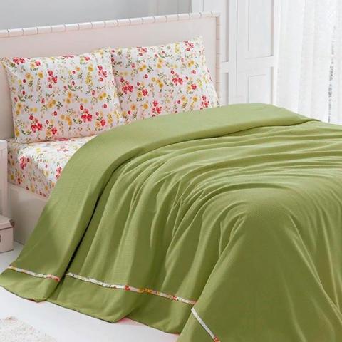 Постельное белье с покрывалом Soft Pike Takimi Yesil