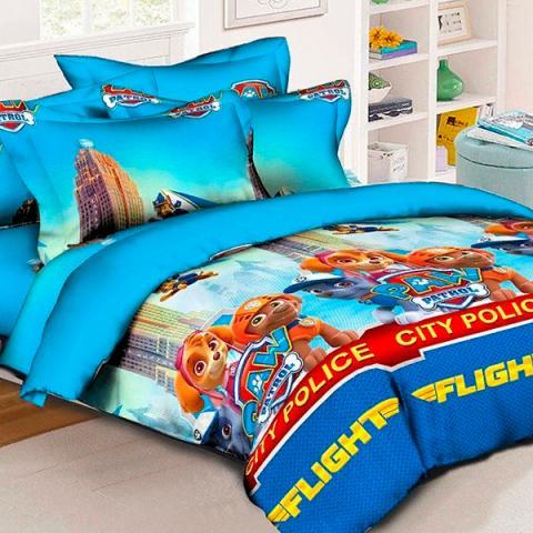 Детское полуторное постельное белье Щенячий патруль 5 (голубой) - Скай, Зума и Гонщик