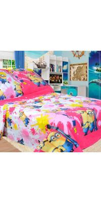 Детское постельное белье Миньоны 5 (розовое)