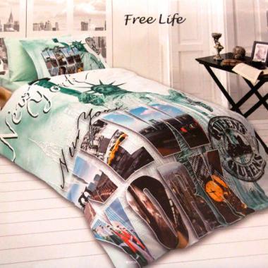 Подростковое постельное белье First Choice 3D сатин Free life