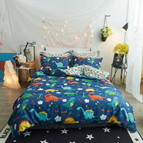 Berni Комплект постельного белья Веселые динозавры с простынью на резинке