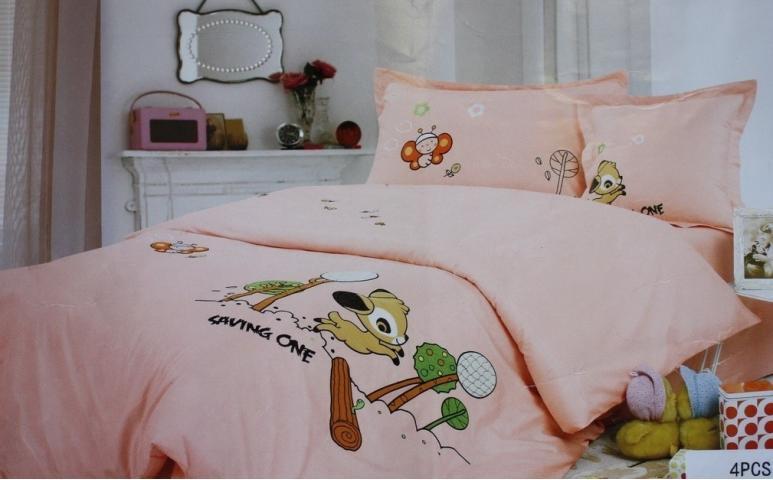 Детское постельное белье Олененок (персиковое)