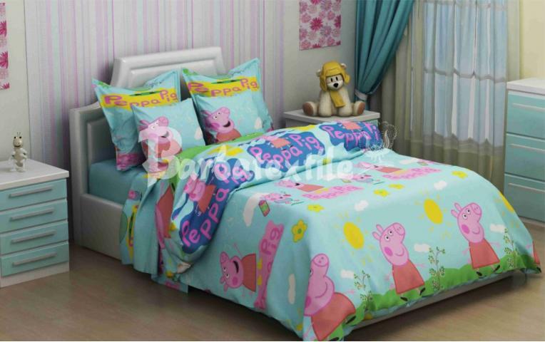 Детское постельное белье Свинка Пепа голубой