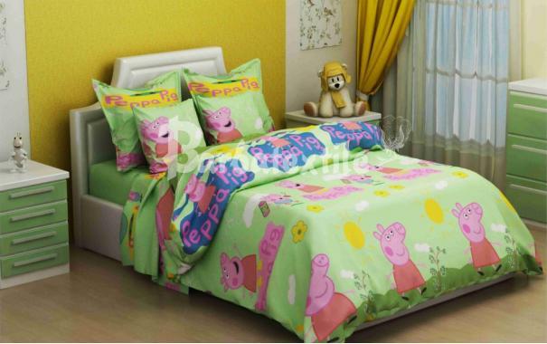 Детское постельное белье Свинка Пепа зеленый