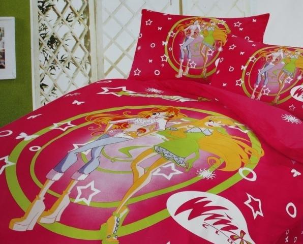 Детское постельное белье Winx (малиновое)