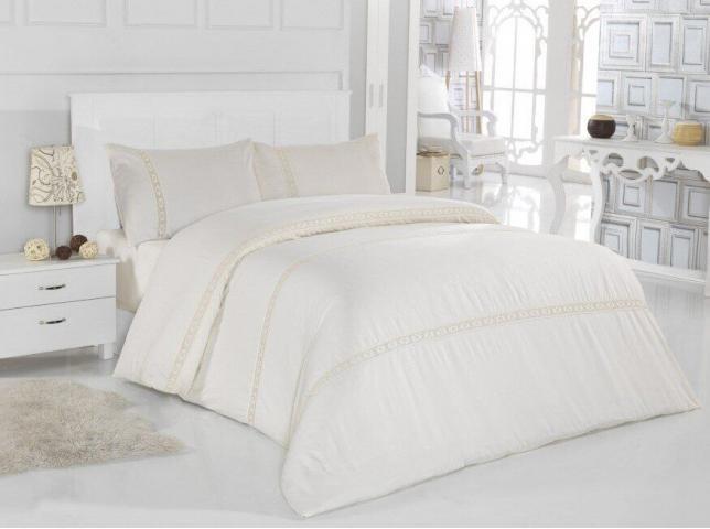 Постельное белье сатин Евро Altinbasak Lace Белый 100% хлопок