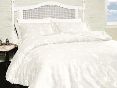 Постельное белье сатин Deluxe Евро First choice Carmina Beyaz 100% хлопок