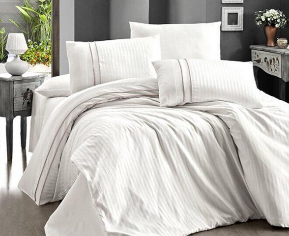 Постельное белье отельное сатин Deluxe Евро First Choice Stripe Style Krem 100% хлопок