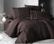 Постельное белье отельное сатин Deluxe Евро First Choice Stripe Style Cikolata 100% хлопок