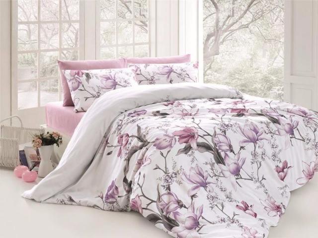 Постельное белье ранфорс Евро First Choice de luxe цветной Layla Leylak 100% хлопок