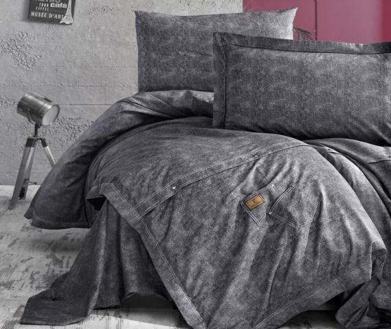 Постельное белье ранфорс Евро First Choice De Luxe Jeans Gri цветной 100% хлопок