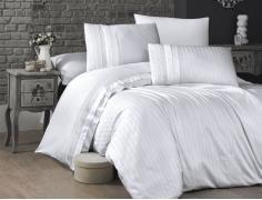 Постельное белье сатин Deluxe Евро First Choice New Trend Beyaz 100% хлопок