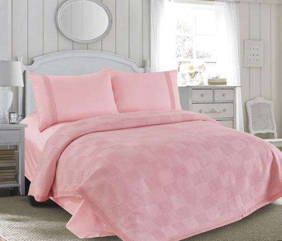 Постельное белье летнее (пике) Love You Розовый - евро: хлопок, сатин