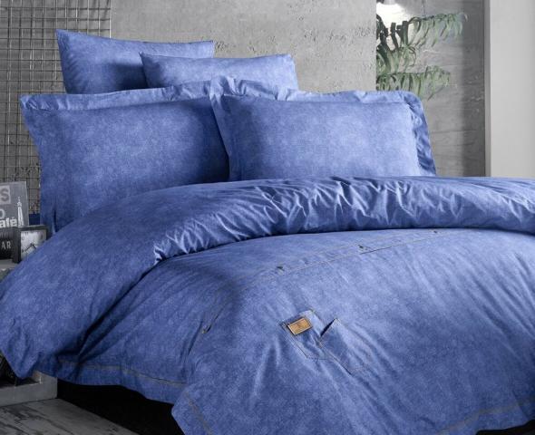 Постельное белье ранфорс Евро First Choice De Luxe Jeans Mavi цветной 100% хлопок