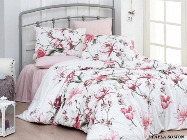 Постельное белье ранфорс Евро First Choice de luxe цветной Layla Somon 100% хлопок