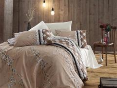 Постельное белье ранфорс Евро First Choice de luxe Gina krem 100% хлопок