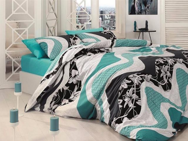 Постельное белье ранфорс Евро First Choice de luxe Wave turquaz 100% хлопок