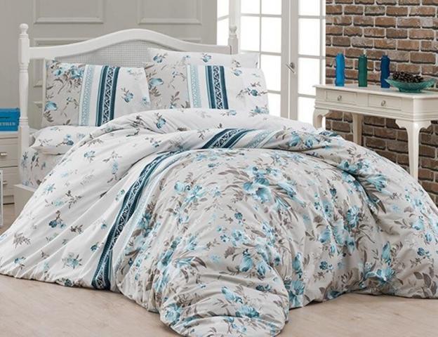 Постельное белье ранфорс Евро First Choice de luxe Peggy turquaz 100% хлопок