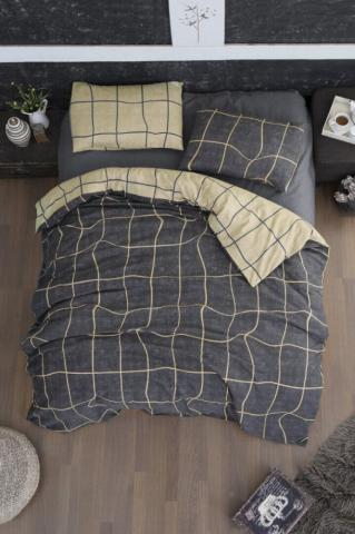 Постельное белье фланель Евро First Choice Adonis grey 100% хлопок