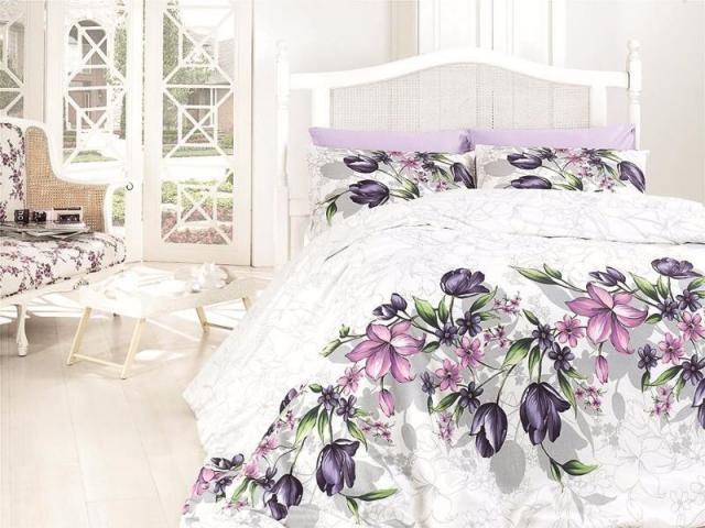 Постельное белье ранфорс Евро First Choice de luxe Riella lila 100% хлопок