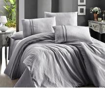 Постельное белье отельное сатин Deluxe Евро First Choice Stripe Style Gri 100% хлопок