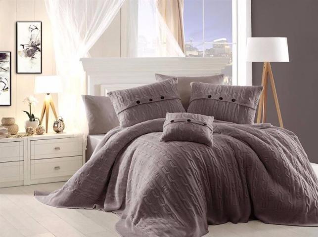 Постельное белье First choiceDe Luxe + вязанное покрывало Nirvana Excellent Vizon - евро: хлопок, ранфорс