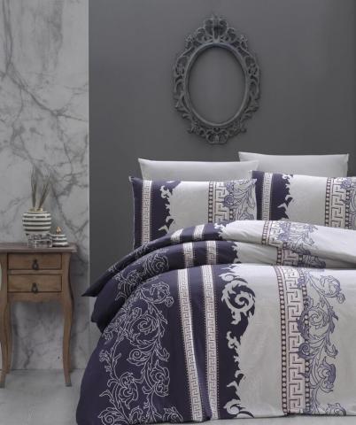 Постельное белье ранфорс Евро First Choice De Luxe Wals indigo 100% хлопок