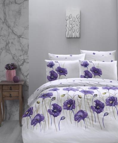 Постельное белье ранфорс Евро First Choice De Luxe Bozca lila 100% хлопок