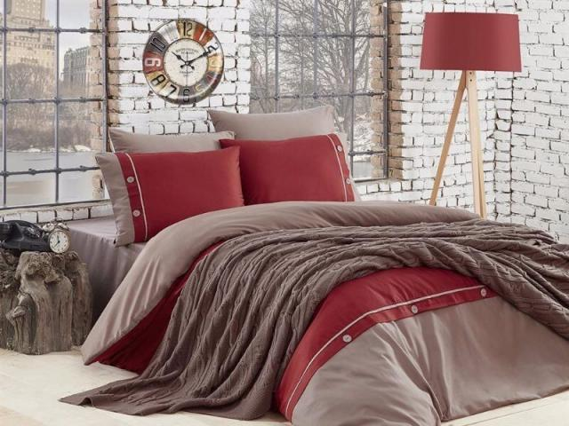Постельное белье First choice De Luxe + вязаный плед Nirvana Raina Vizon, Двуспальный Евро