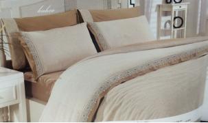 Льняное постельное белье сатин Евро Altinbasak CREAM 50% лен, 50% хлопок