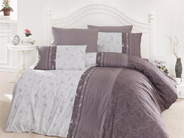 Постельное белье ранфорс Евро First Choice de luxe цветной Peitra Kahve 100% хлопок