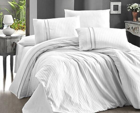 Постельное белье отельное сатин Deluxe Евро First Choice Stripe Style Beyaz 100% хлопок
