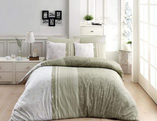 Постельное белье ранфорс Евро First Choice De Luxe Peitra Yesil цветной 100% хлопок