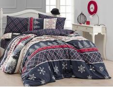 Новогоднее постельное белье ранфорс Евро First Choice de luxe Snowfall 100% хлопок