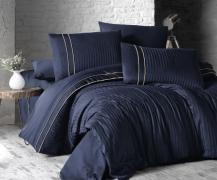 Постельное белье отельное сатин Deluxe Евро First Choice Stripe Style lacivert 100% хлопок