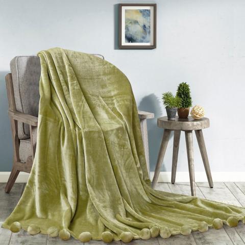 Плюшевый плед бубон Love You Зеленый, 200 х 220 см