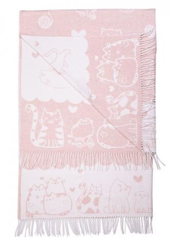 Плед Love You Коты розовый, Односпальный - 140 х 200 см