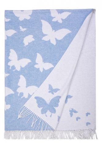Плед Love You Бабочка голубой, Односпальный - 140 х 200 см