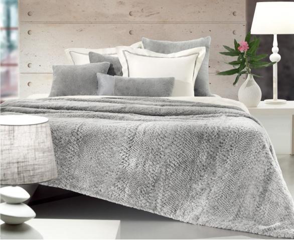Плед меховый Love You LUX серый, Евро - 200 х 220 см