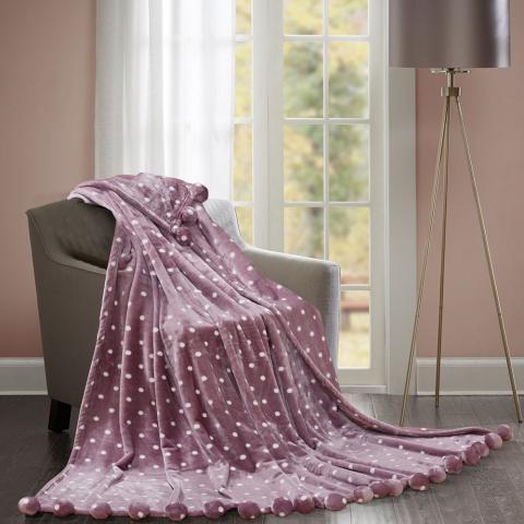 Плюшевый плед бубон шары Love You Розовый, 150 х 200 см