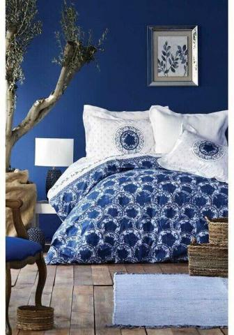 Постельное белье Karaca Home Belina mavi 2019-2 голубой - евро: хлопок, ранфорс