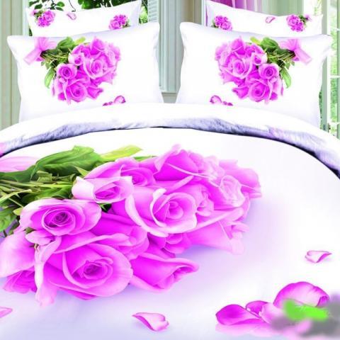 Постельное белье сатин полуторное 3D Love You Нежность 100% хлопок