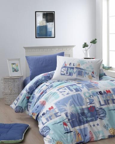 Подростковое постельное белье First Choice SUMMER MAVI 100% хлопок