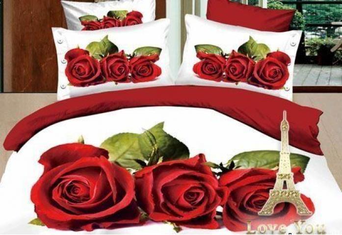 Постельное белье сатин полуторное 3D Love You Любовь 100% хлопок