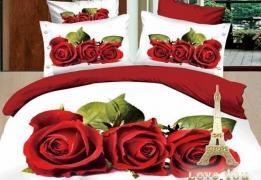 Постельное белье сатин семейное 3D Love You Любовь 100% хлопок