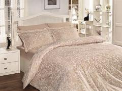 Постельное белье сатин Deluxe семейное First choice Sweta Ekru 100% хлопок
