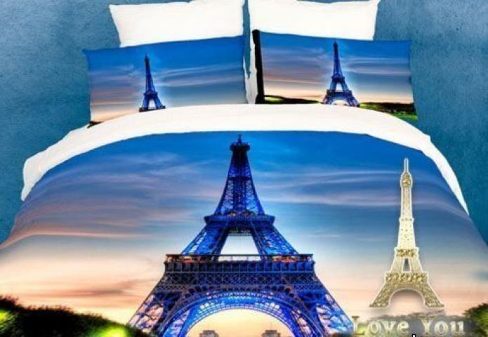 Постельное белье сатин семейное 3D Love You Париж 100% хлопок