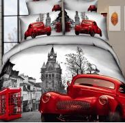Постельное белье сатин семейное 3D Love You Лондон 100% хлопок