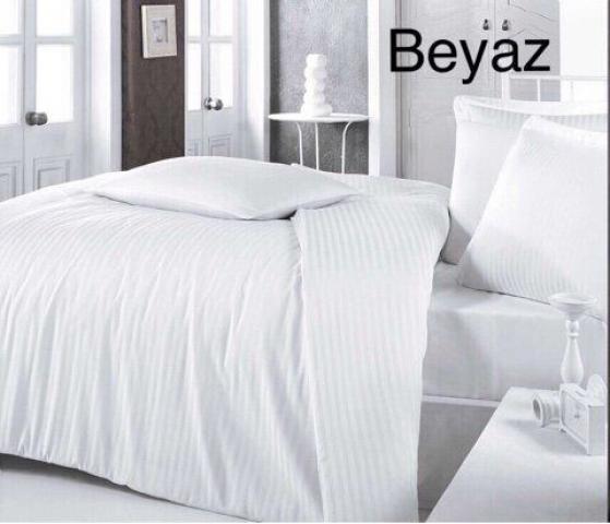 Постельное белье отельное сатин-страйп семейное Altinbasak BEYAZ 100% хлопок